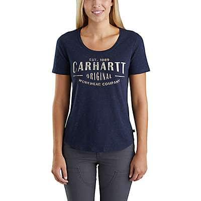 Carhartt Women's Brick Dust Heather Lockhart Graphic Carhartt Workwear Short-Sleeve T-Shirt - front