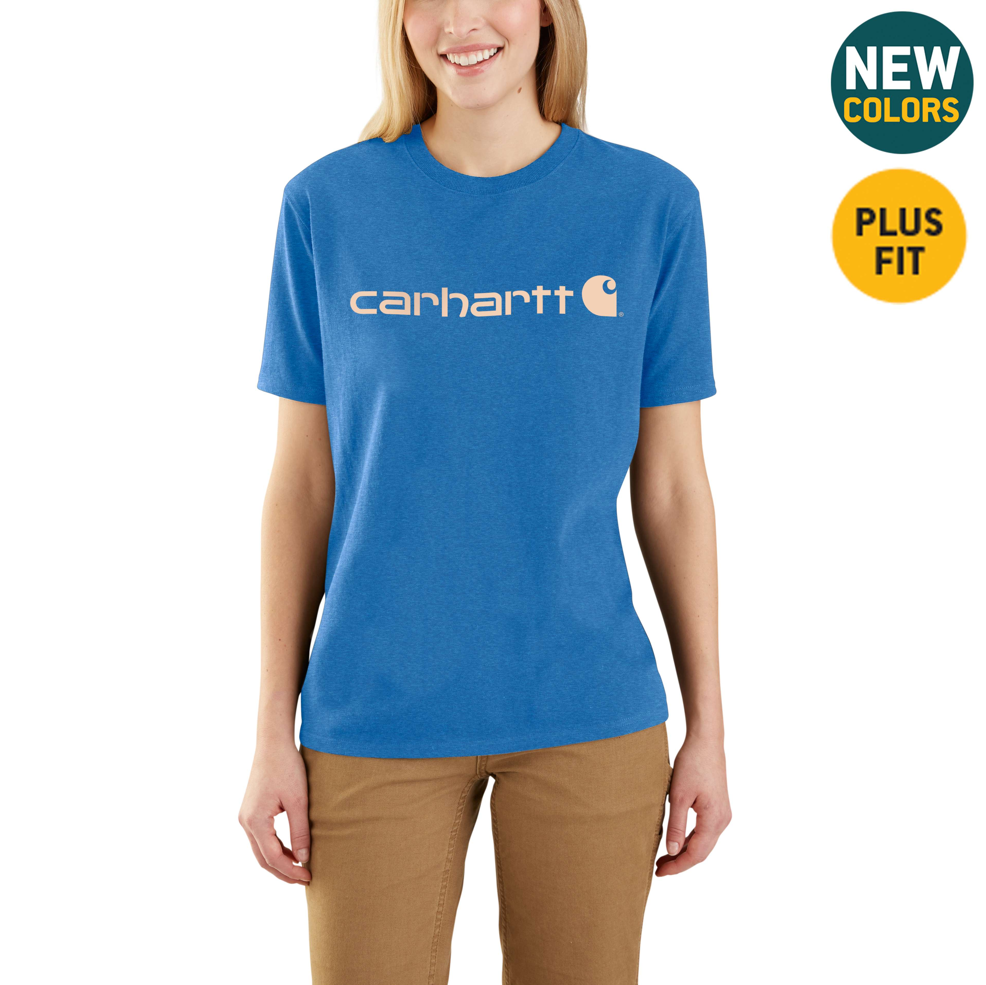 Picture of WK195 Workwear Logo Short Sleeve T-Shirt in Light Cobalt Heather