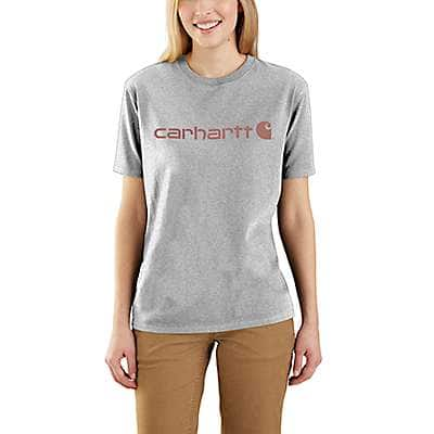 Carhartt Women's Heather Gray Loose Fit Heavyweight Short-Sleeve Logo Graphic T-Shirt