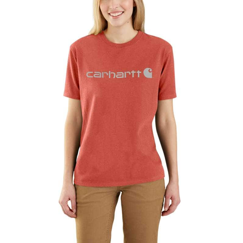 Carhartt  Earthen Clay Heather Loose Fit Heavyweight Short-Sleeve Logo Graphic T-Shirt
