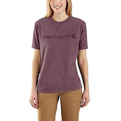 Carhartt Women's Amethyst Smoke Heather Loose Fit Heavyweight Short-Sleeve Logo Graphic T-Shirt