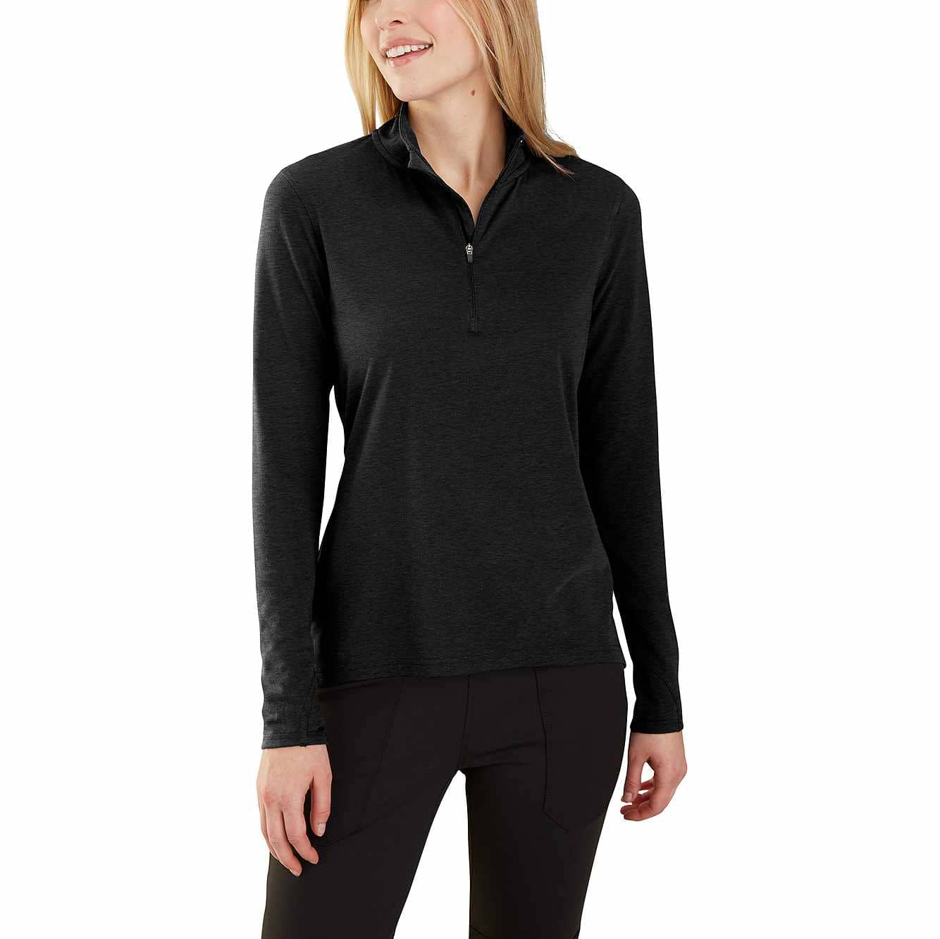 Picture of Carhartt Force® Delmont Quarter-Zip Shirt in Black Heather