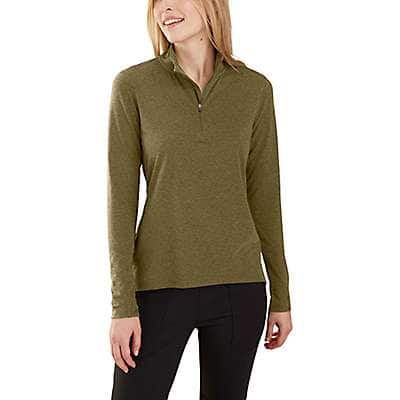 Carhartt Women's Military Olive Heather Carhartt Force® Delmont Quarter-Zip Shirt - front