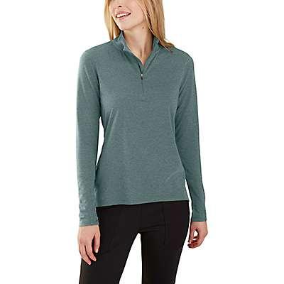 Carhartt Women's Balsam Green Heather Carhartt Force® Delmont Quarter-Zip Shirt - front