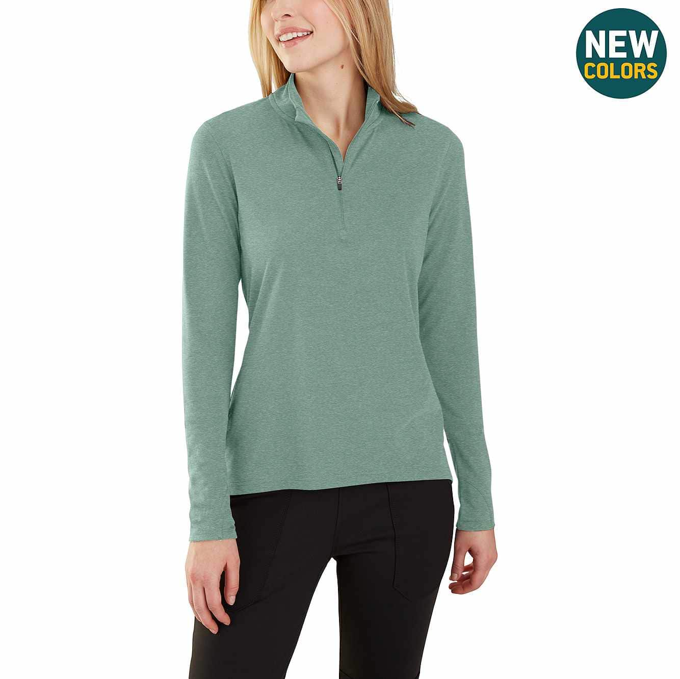 Picture of Carhartt Force® Delmont Quarter-Zip Shirt in Bay Green Heather