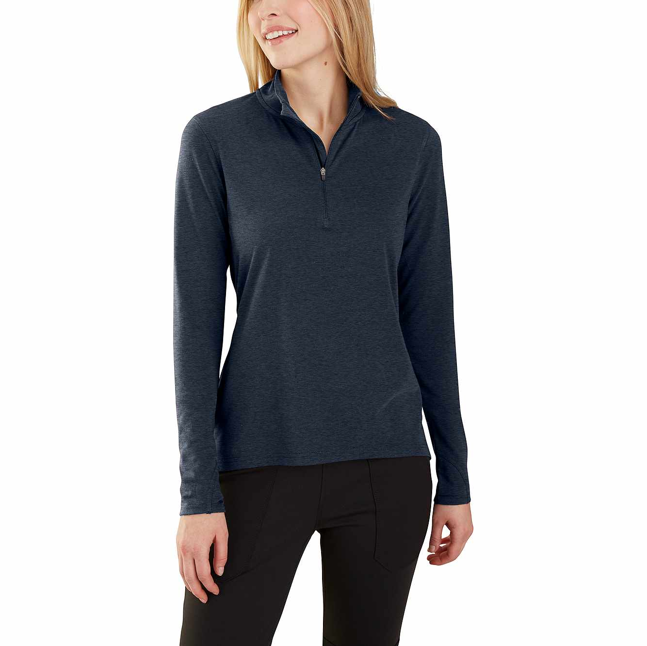 Picture of Carhartt Force® Delmont Quarter-Zip Shirt in Navy Heather