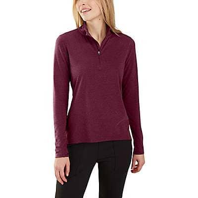 Carhartt Women's Mangosteen Heather Carhartt Force® Delmont Quarter-Zip Shirt - front