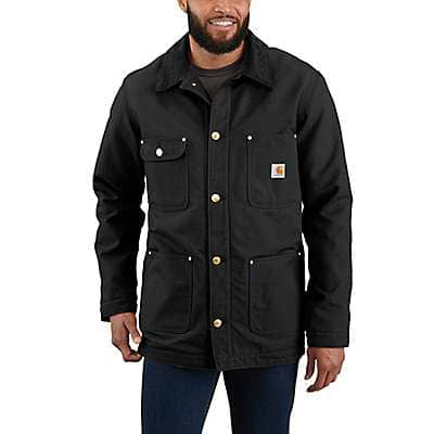 Carhartt Men's Black Loose Fit Firm Duck Blanket-Lined Chore Coat