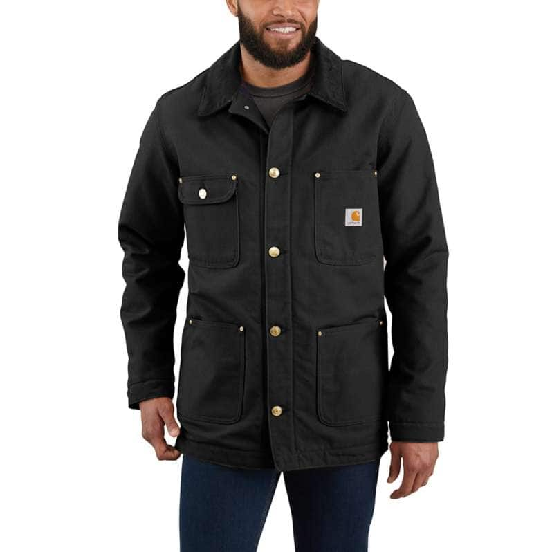 Carhartt  Black Loose Fit Firm Duck Blanket-Lined Chore Coat