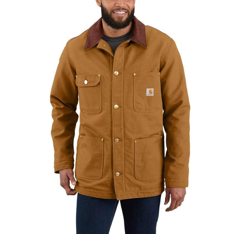Carhartt  Carhartt Brown Loose Fit Firm Duck Blanket-Lined Chore Coat