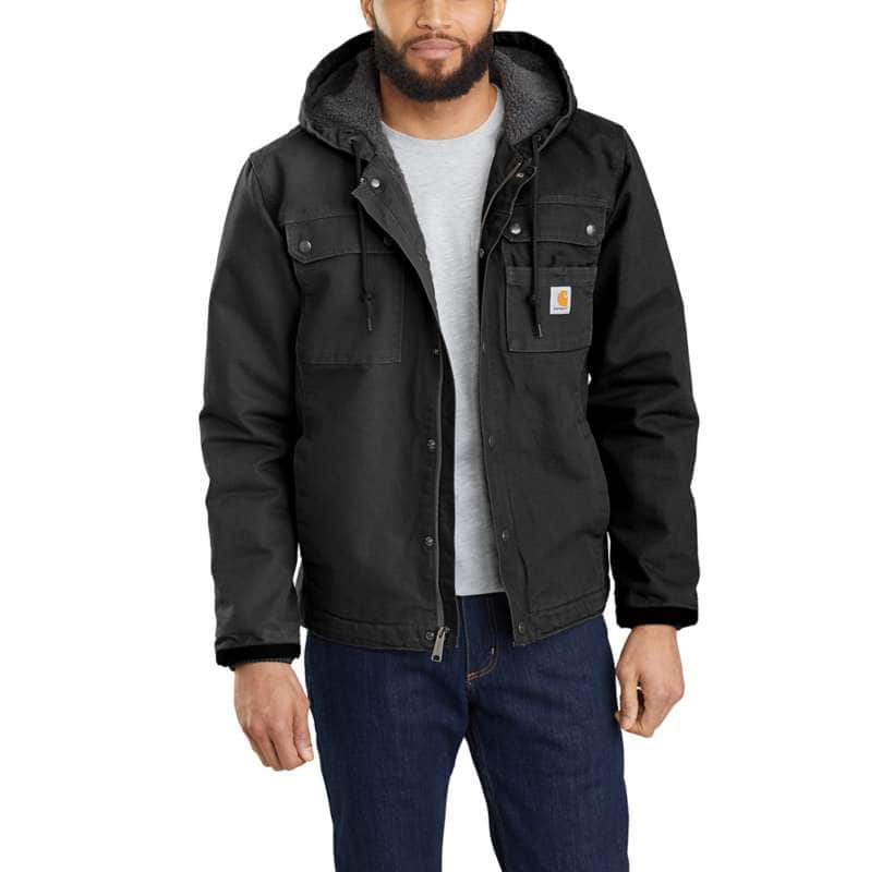Carhartt  Black Relaxed Fit Washed Duck Sherpa-Lined Utility Jacket