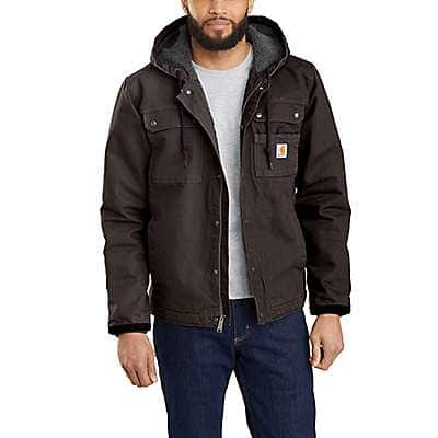Carhartt Men's Dark Brown Relaxed Fit Washed Duck Sherpa-Lined Utility Jacket