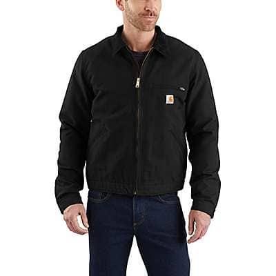 Carhartt Men's Black Relaxed Fit Duck Blanket-Lined Detroit Jacket