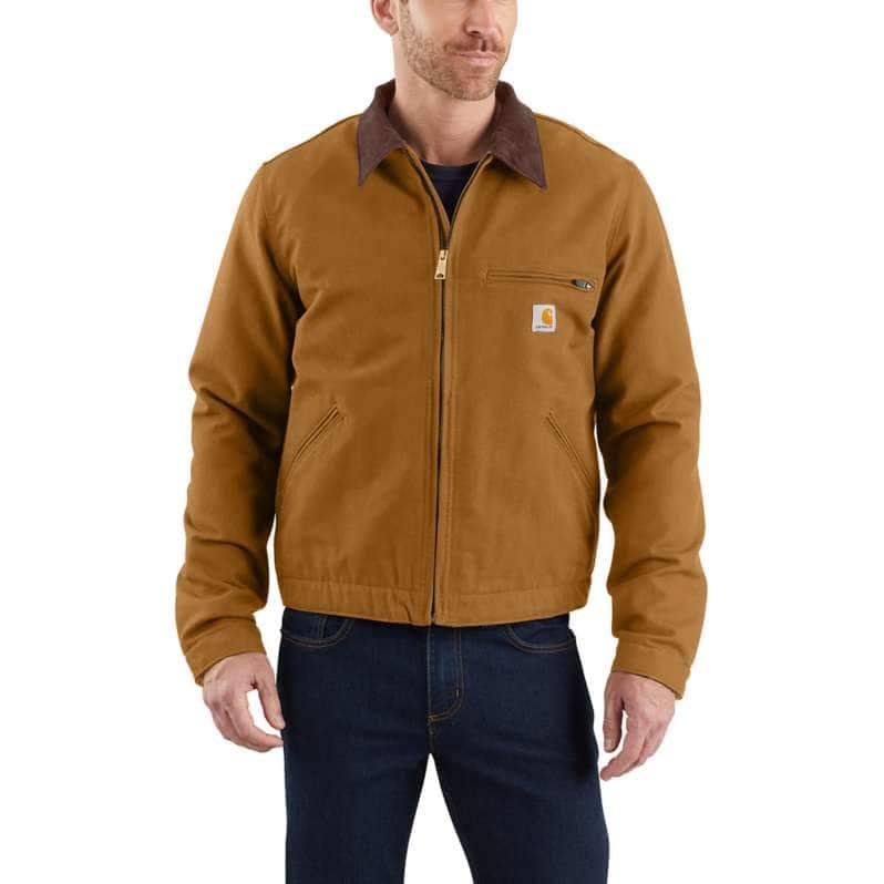 Carhartt  Carhartt Brown Relaxed Fit Duck Blanket-Lined Detroit Jacket