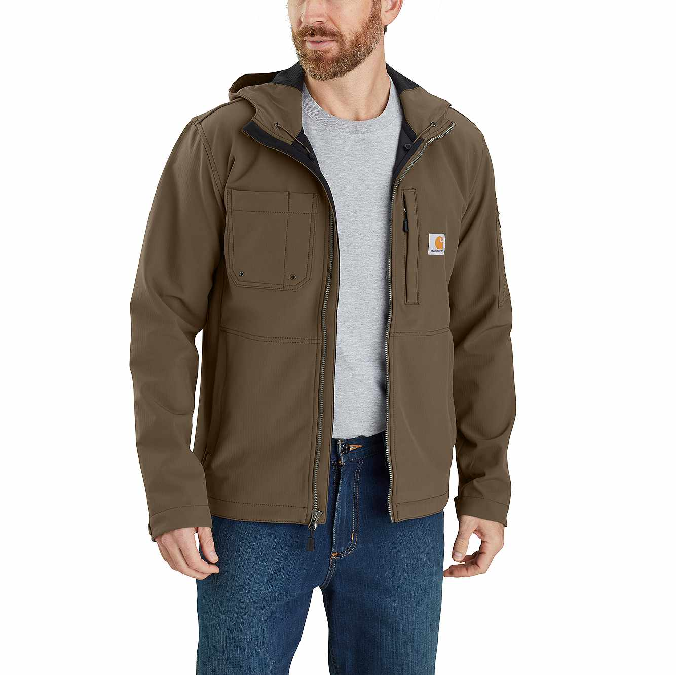 Rain Defender® Relaxed Fit Midweight Softshell Hooded Jacket