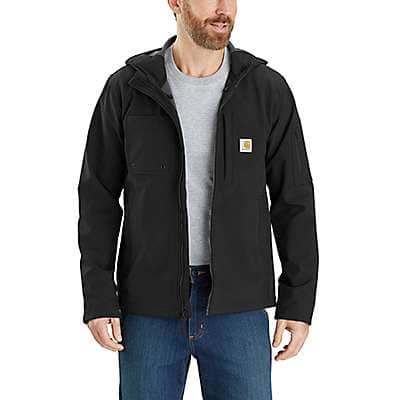 Carhartt Men's Black Rain Defender® Relaxed Fit Midweight Softshell Hooded Jacket