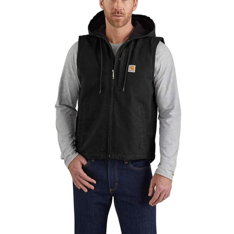 Carhartt  Black Relaxed Fit Washed Duck Fleece-Lined Hooded Vest