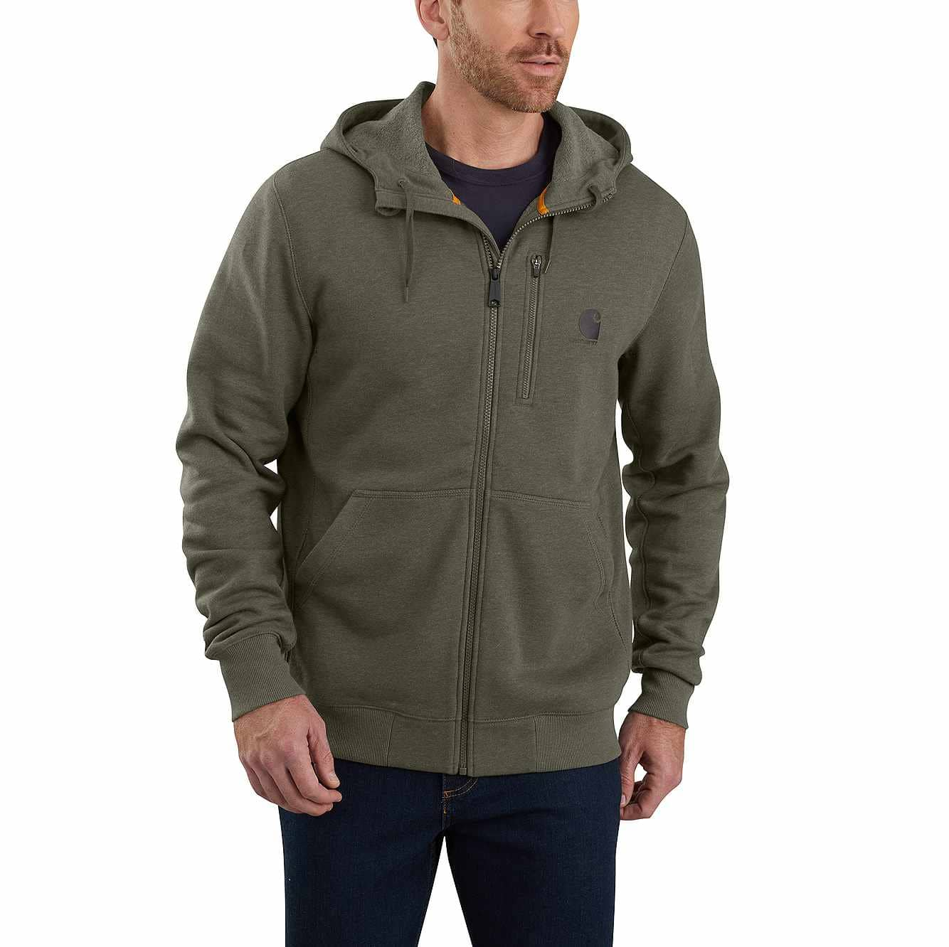 Picture of Carhartt Force® Delmont Graphic Full-Zip Hooded Sweatshirt in Moss Heather