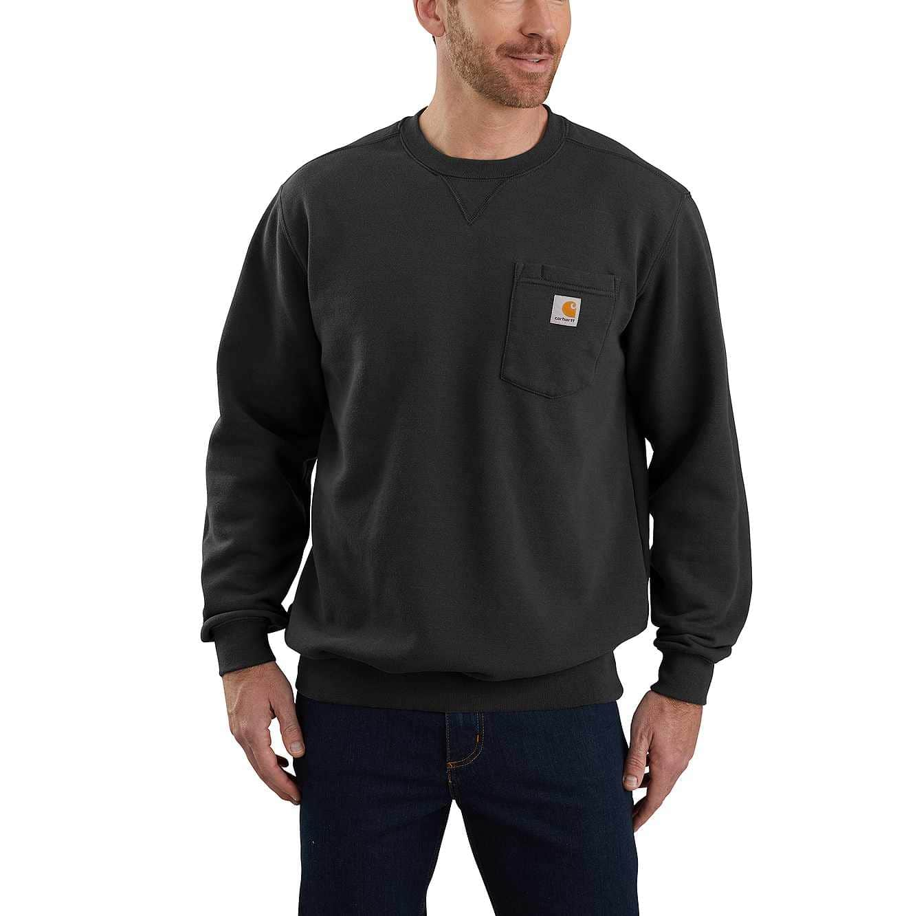 Picture of Crewneck Pocket Sweatshirt in Black
