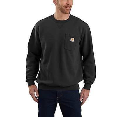 Carhartt Men's Black Loose Fit Midweight Crewneck Pocket Sweatshirt