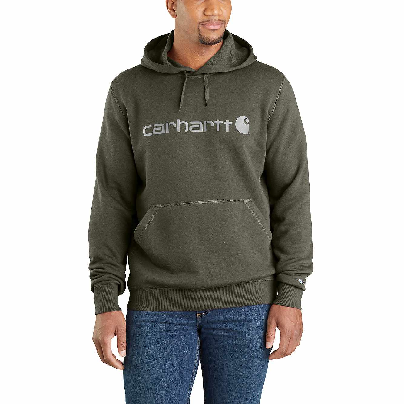 Picture of Carhartt Force® Delmont Signature Graphic Hooded Sweatshirt in Moss Heather
