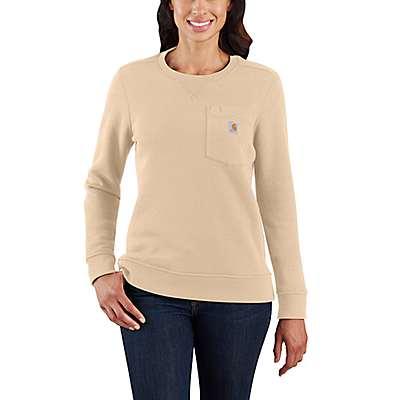 Carhartt Women's White Truffle Clarksburg Crewneck Pocket Sweatshirt