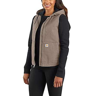 Carhartt Women's Taupe Gray Washed Duck Insulated Hooded Vest