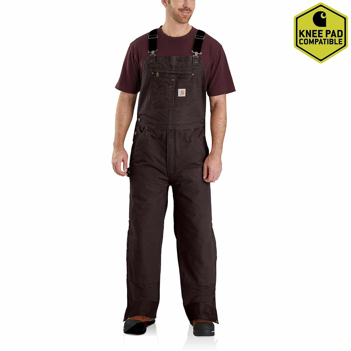 Picture of Quilt-Lined Washed Duck Bib Overalls in Dark Brown