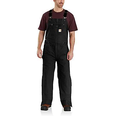 Carhartt Men's Black Loose Fit Washed Duck Insulated Bib Overall