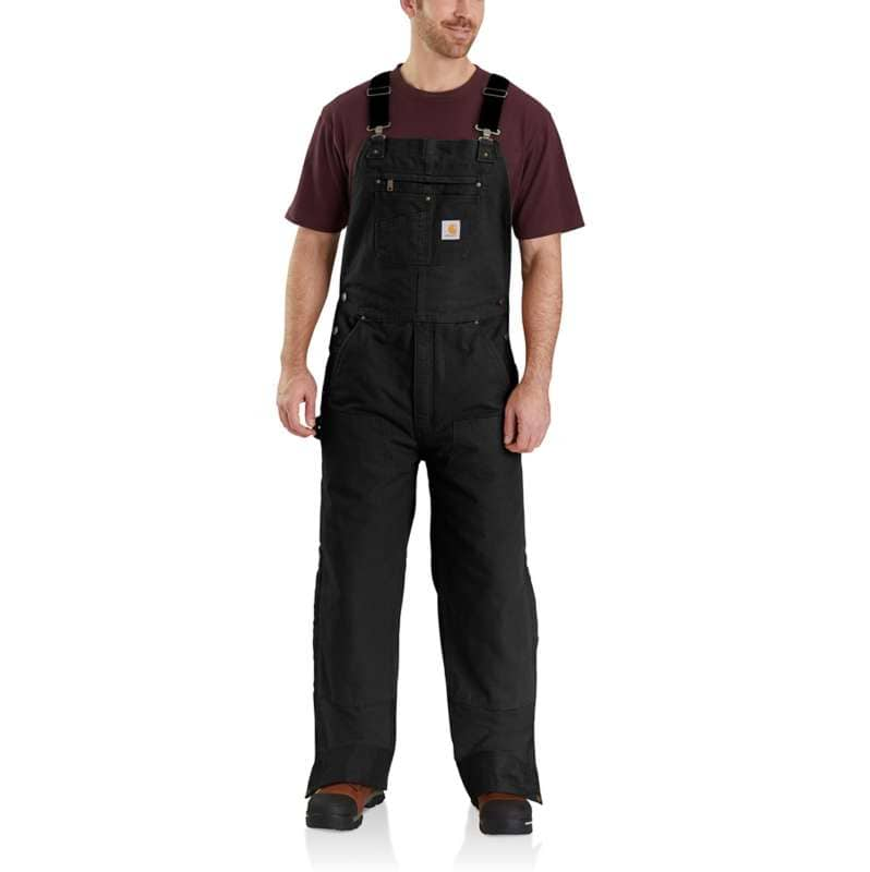 Carhartt  Black Loose Fit Washed Duck Insulated Bib Overall