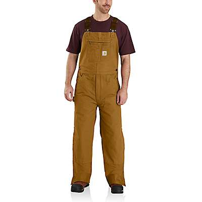 Carhartt Men's Carhartt Brown Loose Fit Washed Duck Insulated Bib Overall