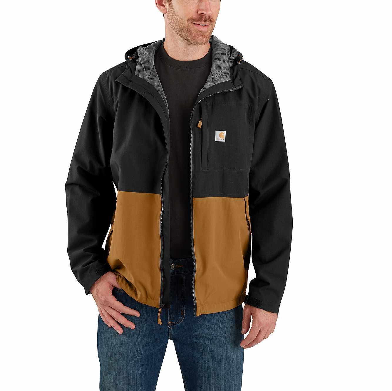 Picture of Storm Defender® Hooded Jacket in Black/Carhartt Brown