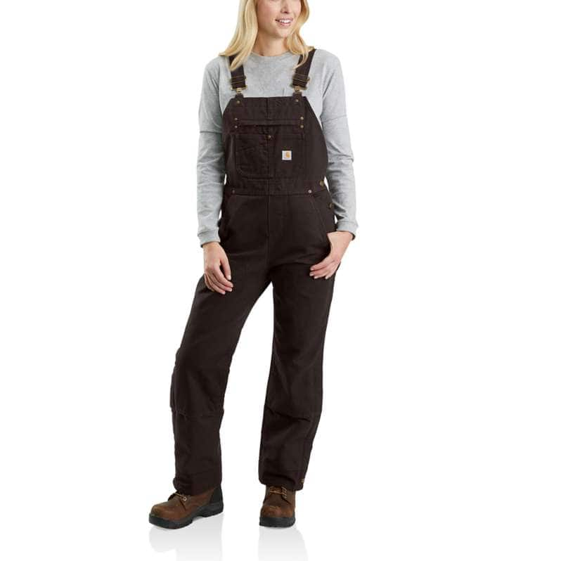 Carhartt  Dark Brown Relaxed Fit Washed Duck Insulated Bib Overall