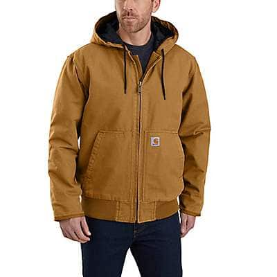 Carhartt Men's Carhartt Brown Loose Fit Washed Duck Insulated Active Jac