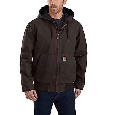 Carhartt Men's Dark Brown Loose Fit Washed Duck Insulated Active Jac