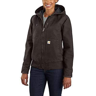 Carhartt Women's Dark Brown Women's Loose Fit Washed Duck Insulated Active Jac