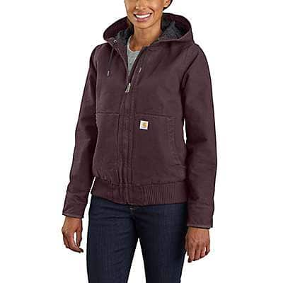 Carhartt Women's Deep Wine Women's Loose Fit Washed Duck Insulated Active Jac