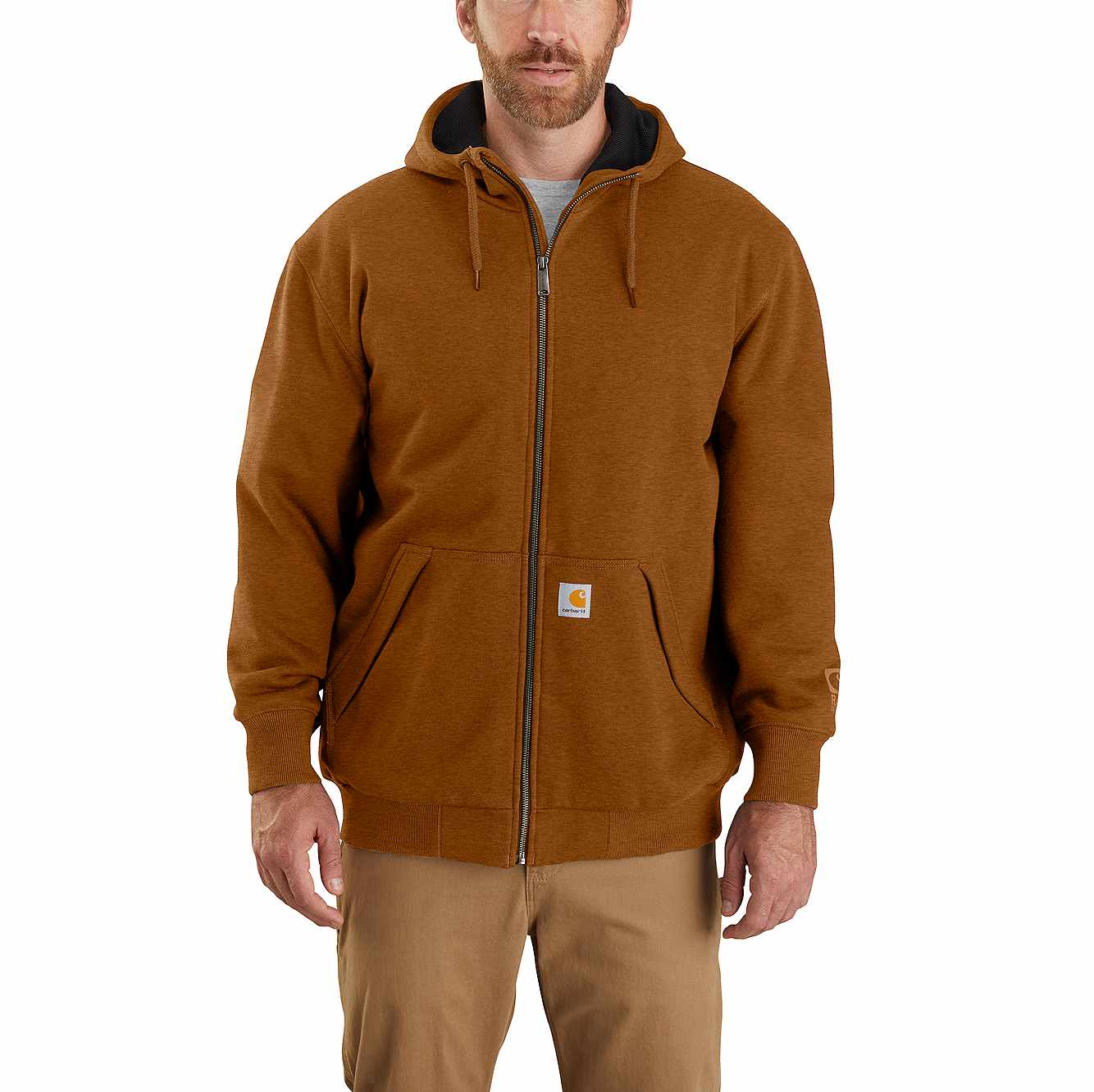 Picture of Carhartt® Rain Defender® Loose Fit Midweight Thermal Lined Full-Zip Hooded Sweatshirt in Oiled Walnut Heather