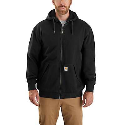 Carhartt Men's Black Rain Defender Loose Fit Midweight Thermal-Lined Full-Zip Sweatshirt