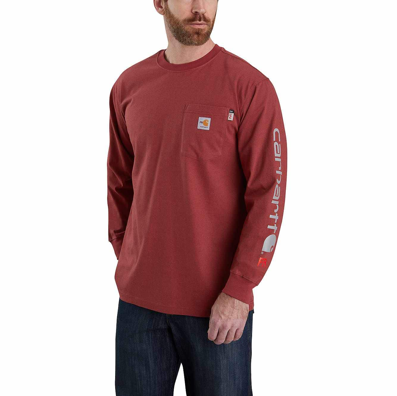 Picture of FR Force Original Fit Midweight Long-Sleeve Signature Logo T-Shirt in Red Brown Heather