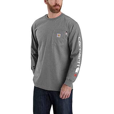 Carhartt Men's Granite Heather Flame Resistant Force Original Fit Midweight Long-Sleeve Logo Graphict-Shirt