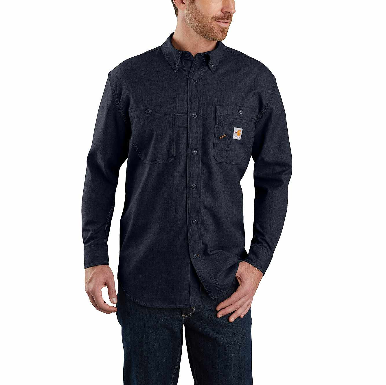 Picture of Flame-Resistant Carhartt Force® Original Fit Lightweight Long-Sleeve Button Front Shirt in Navy