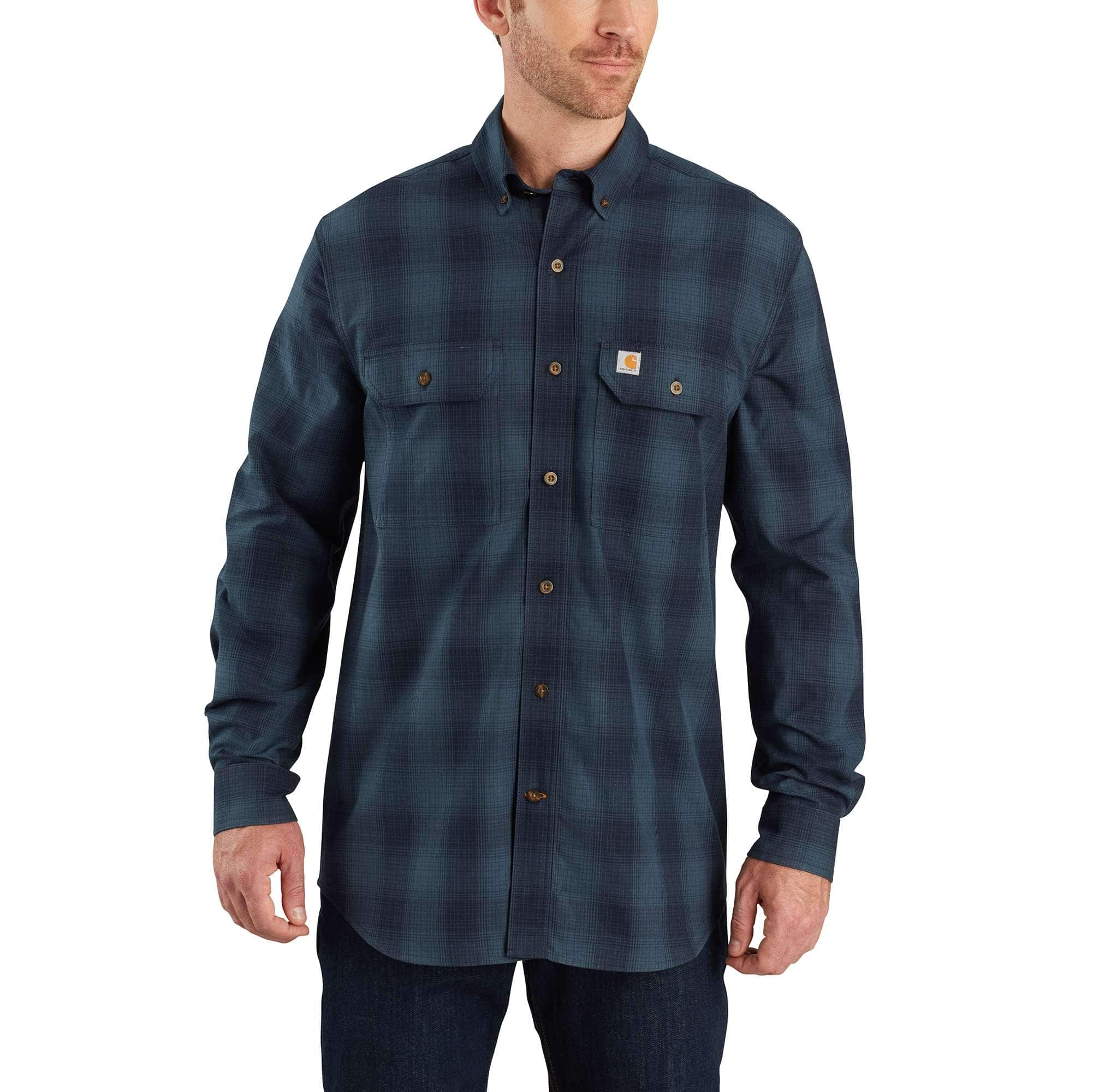 Carhartt Mens Fort Plaid Long Sleeve Shirt Button Down Shirt