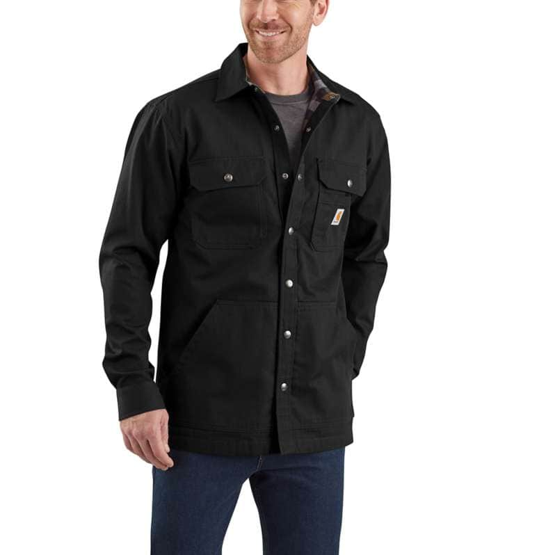 Carhartt  Black Loose Fit Ripstop Flannel-Lined Snap-Front Shirt Jac