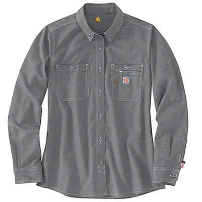 Carhartt Women's Gray Flame Resistant Force Relaxed Fit Lightweight Long-Sleeve Button-Front Shirt