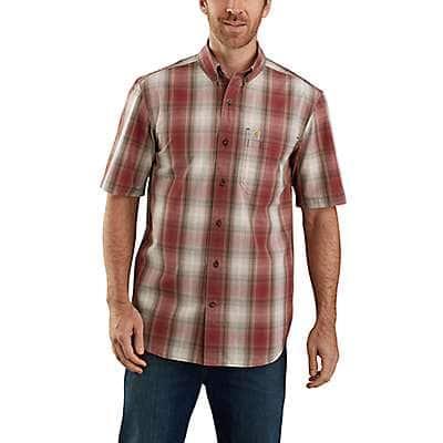 Carhartt Men's Dark Barn Red Relaxed Fit Midweight Short-Sleeve Plaid Shirt