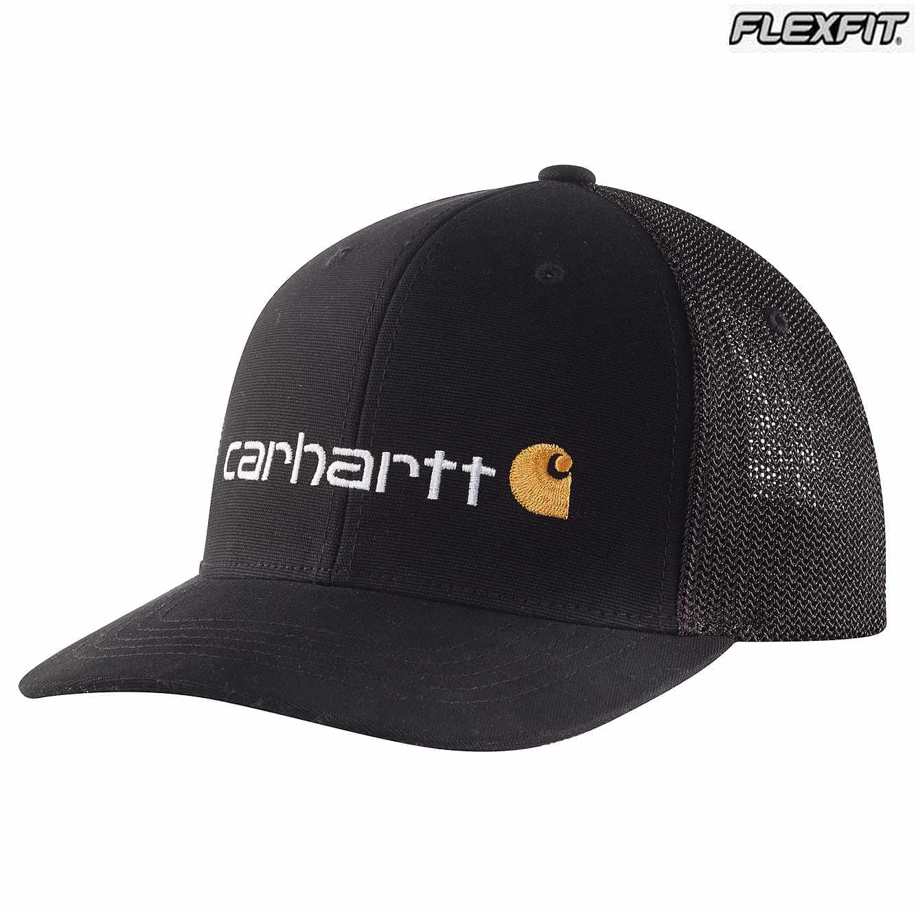 Picture of Rugged Flex® Canvas Mesh-Back Fitted Logo Graphic Cap in Black