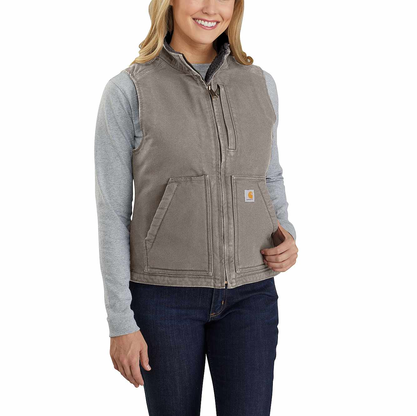 Picture of Carhartt® Washed Duck Sherpa Lined Vest in Taupe Gray