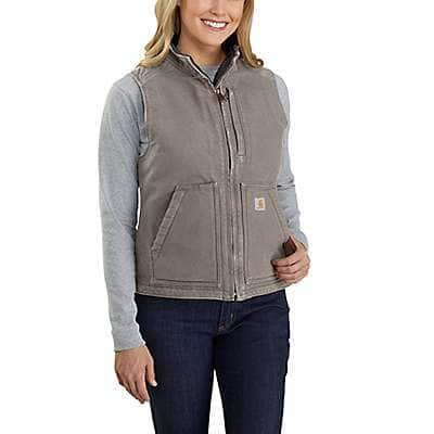 Carhartt Women's Taupe Gray Relaxed Fit Washed Duck Sherpa Lined Mock Neck Vest