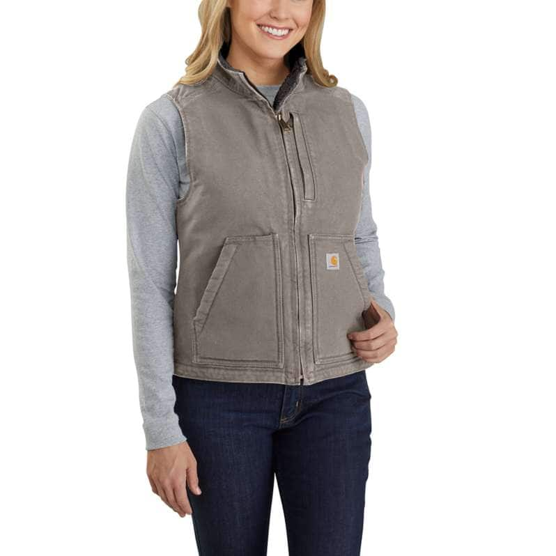 Carhartt  Taupe Gray Relaxed Fit Washed Duck Sherpa Lined Mock Neck Vest